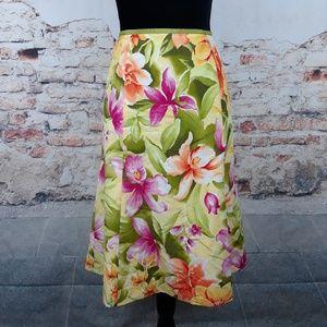 Talbots 12 Yellow Pink Floral Cotton Silk Skirt